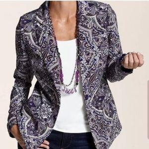 Chico's purple print button front blazer